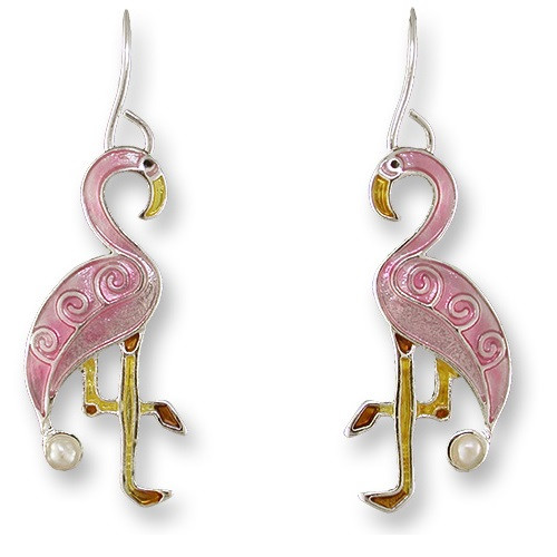 Flamingo Enameled Pearly Wire Earrings   Nature Jewelry