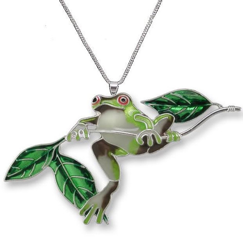 Frog on Twig Enameled Silver Plated Necklace   Nature Jewelry