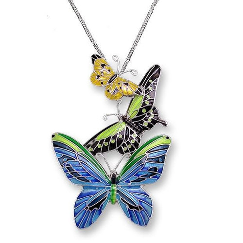 Butterflies Enameled Silver Plated Necklace | Zarah Jewelry | 21-28-Z2P