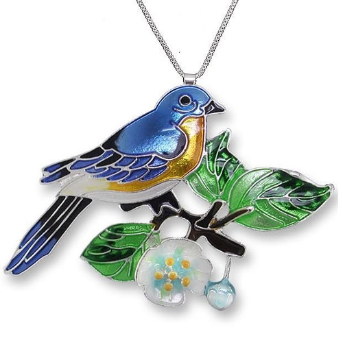 Bluebird and Dogwood Enameled Silver Plated Necklace | Nature Jewelry