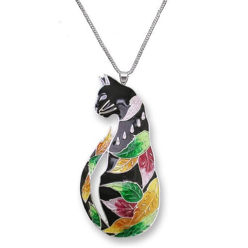 Cat Enameled Silver Plated Necklace | Nature Jewelry