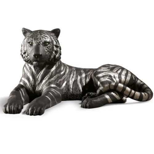 Tiger Black and Silver Porcelain Figurine
