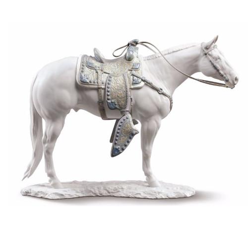 White Quarter Horse Porcelain Figurine