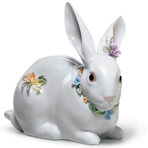 Attentive Bunny With Flowers Porcelain Figurine