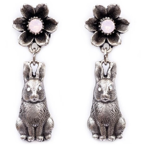 Flower and Bunny Dangle Earrings | Nature Jewelry