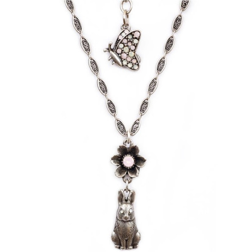 Bunny and Flower Pendant Necklace | Nature Jewelry