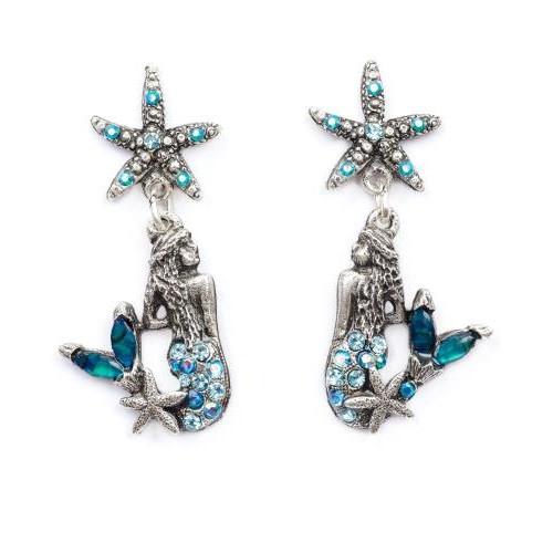 Starfish and Mermaid Droplet Earrings | Nature Jewelry