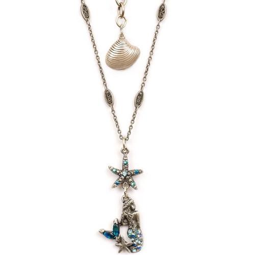 Mermaid and Starfish Pendant Necklace | Nature Jewelry