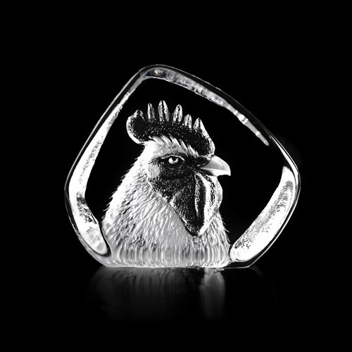 Rooster Head Crystal Sculpture | 34234 | Mats Jonasson Maleras