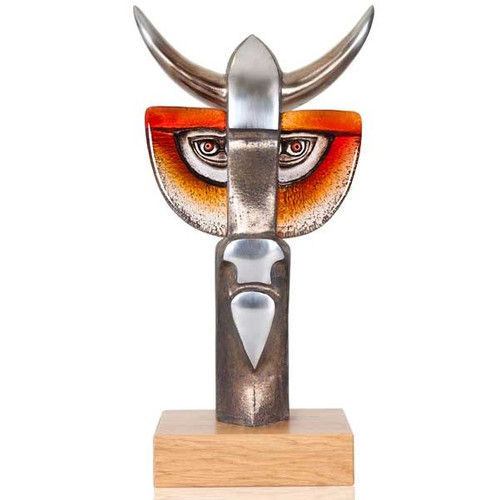 "Bull Iron and Crystal Sculpture ""Taurus III"" | 68145"