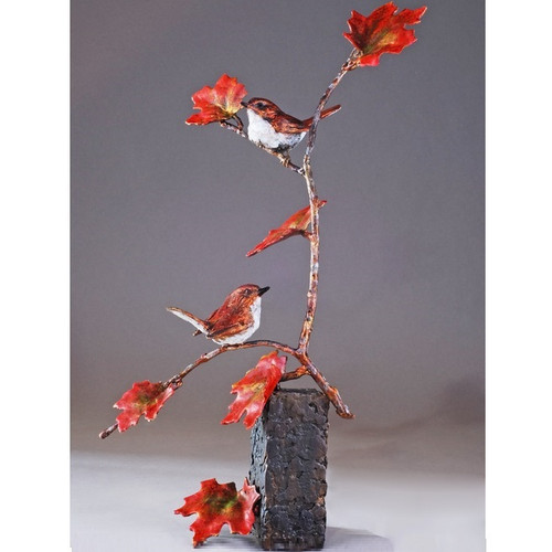 "Bird Pair and Branch Bronze Sculpture ""Tree for Two"" 