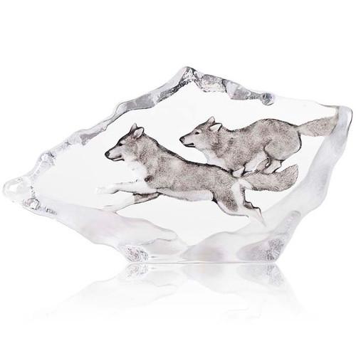 Wolves Running Crystal Sculpture   34066