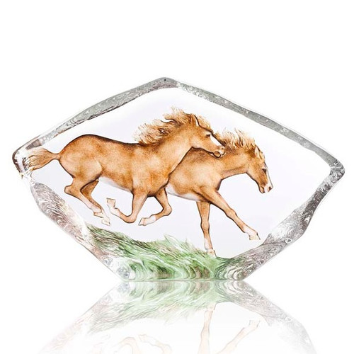 Horses Galloping Crystal Sculpture | 34086
