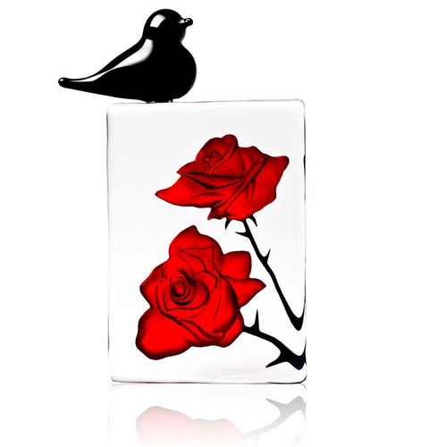 Blackbird with Red Roses Flower Crystal Sculpture | 34079