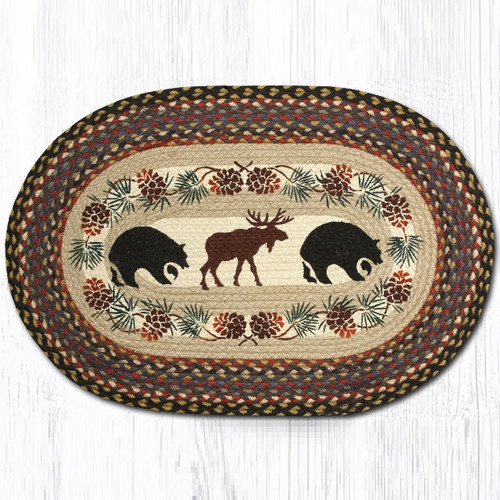 Bear and Moose Oval Braided Rug