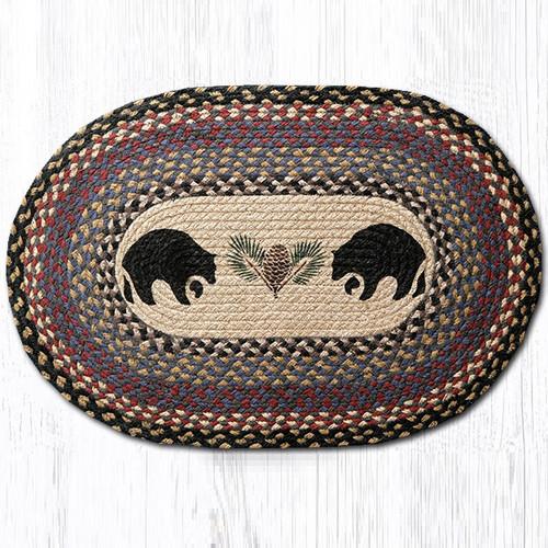 Used Oval Braided Rugs: Black Bear Round Braided Rug