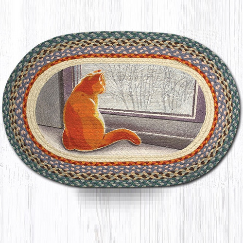 Cat Oval Braided Rug