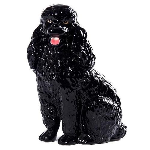 Black Poodle Spaniel Ceramic Dog Sculpture