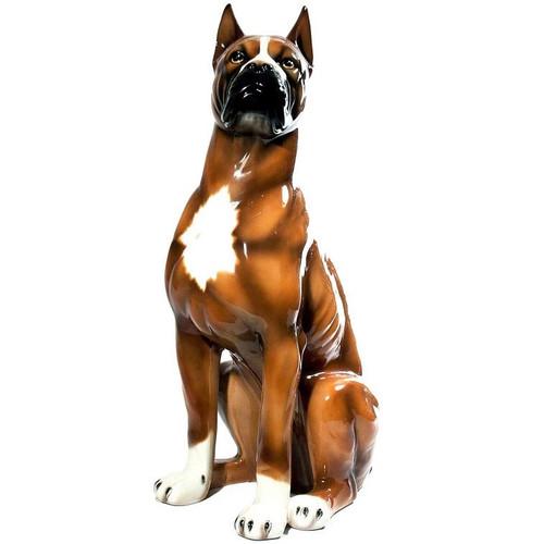 Boxer Ceramic Dog Sculpture