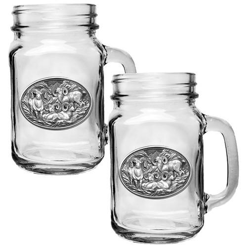 Bighorn Sheep Mason Jar Mug Set of 2