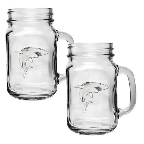 Shark Mason Jar Mug Set of 2
