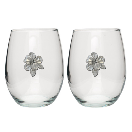 Apple Blossom Stemless Goblet Set of 2
