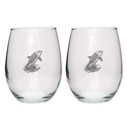 Orca Whale Stemless Goblet Set of 2