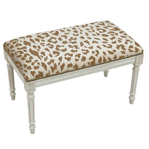 Cheetah Linen Bench