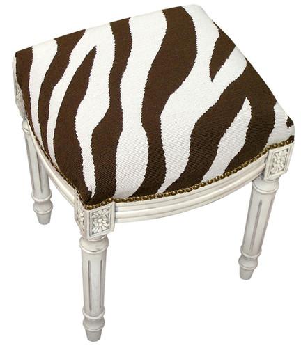 Zebra Stripe Linen Vanity Stool | Zebra Linen Stool