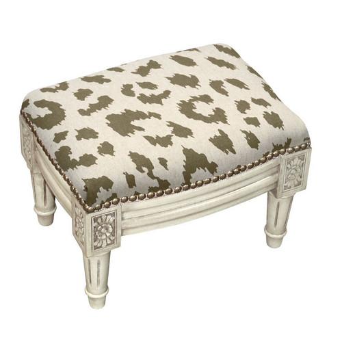 Cheetah Linen Footstool