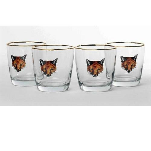 "Fox Cocktail Glass Set ""Fox Mask"""