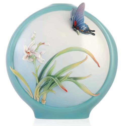 Butterfly and Orchid Sculptured Porcelain Vase | FZ03354