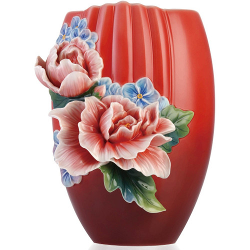 Hibiscus Sculptured Porcelain Vase | FZ03355 | Franz Collection