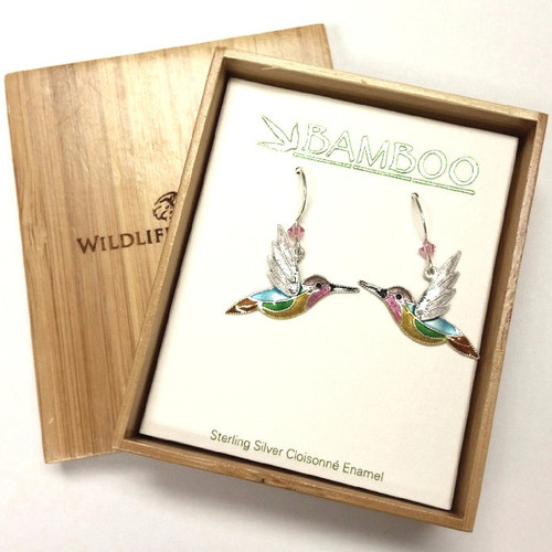 Jazz Hummingbird Cloisonne Wire Earrings | Nature Jewelry