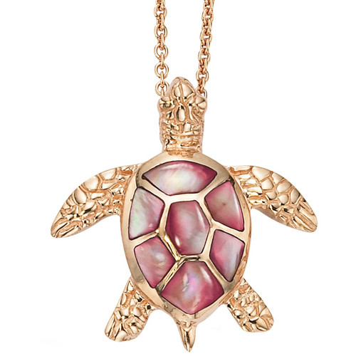 Sea Turtle 14K Rose Gold Inlay Pendant Necklace | Nature Jewelry
