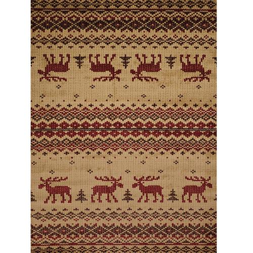 Cross Stitch Design Moose Area Rug