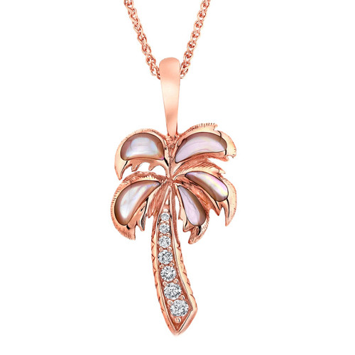 Palm Tree 14K Rose Gold Mother of Pearl Necklace | Kabana Jewelry | NPCF414MP-CH