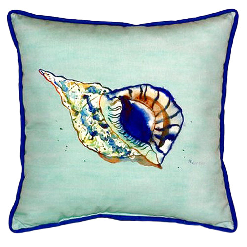 Blue Conch Shell Teal Indoor Outdoor Pillow 22x22