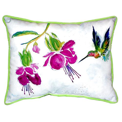 Hummingbird Purple Flower Indoor Outdoor Pillow 20x24