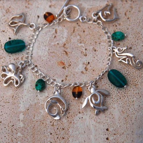 Sealife Link Charm Bracelet    Roland St. John Jewelry