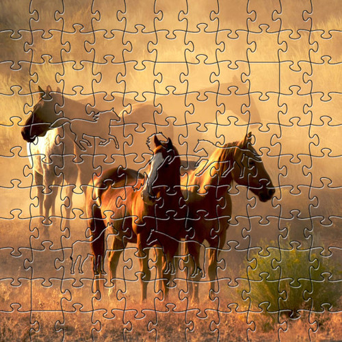 "Horse Wooden Jigsaw Puzzle ""Peaceful Gathering"""