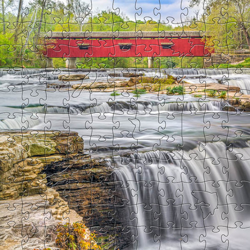 Red Covered Bridge Wooden Jigsaw Puzzle