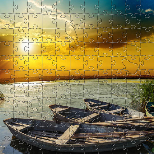 River Sunset Wooden Jigsaw Puzzle