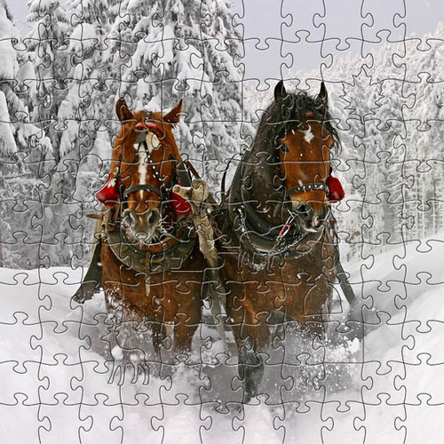 "Horse Wooden Jigsaw Puzzle ""Sleigh Ride"""