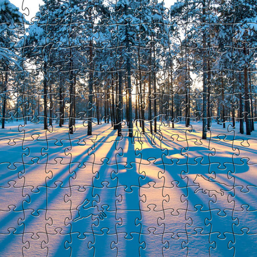 "Forest Wooden Jigsaw Puzzle ""Sunrise in a Winter Forest"""