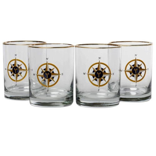 Compass Rose Double Old Fashioned Glass Set