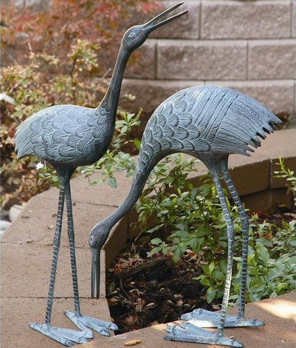 Crane Sculpture Set of 2 Stately Garden Cranes | BS3139