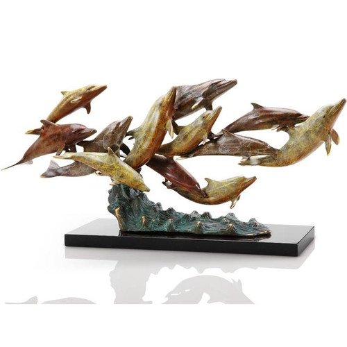 Dolphin Sculpture Dozen Swimming   80266