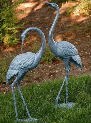Garden Crane Pair Outdoor Statue | 31291