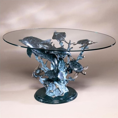 Dolphin Sea World Brass Marble Coffee Table | 30305